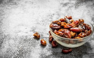 Dates in a bowl .