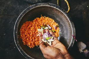 Preparation rice and curry meal